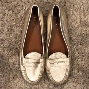 Enzo Angiolini Metallic Leather Loafer Flats